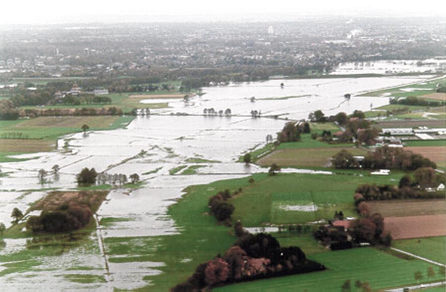 Delme Überschwemmungsfläche beim Okoberhochwasser im Jhr 1998 (jetzt Standort des Hochwasserrückhaltebeckens)